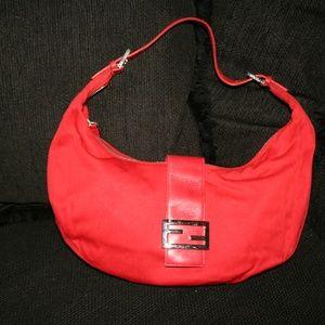 Authentic Red Fendi Shoulder HandBag